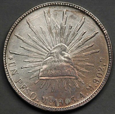 """1903 MEXICO Republic Mo AM """"CAP AND RAYS"""" 1 Peso Silver Coin XF/AU Nice Luster"""