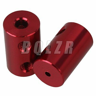 2x Red 2mm to 4mm D 12mm L 20mm Shaft Rigid Motor Coupling Coupler M4 Screw