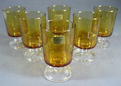 Retro 60s-70s mid-century eames Luminarc amber glasses x 6 made in France