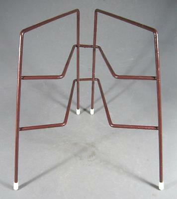 Shabby vintage/retro 60s-70s brown/white 2-tier plate stand -kitchenalia
