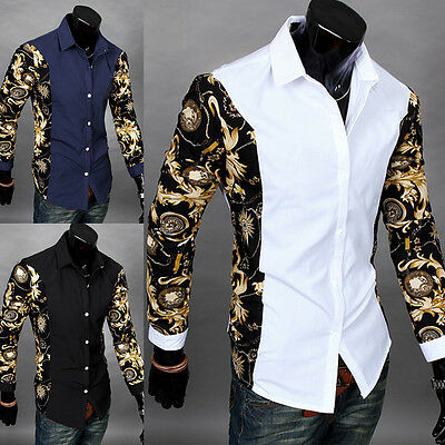 Fashion Mens Casual Shirt Slim Fit Stylish Dress Shirts Long Sleeve Men's Tops