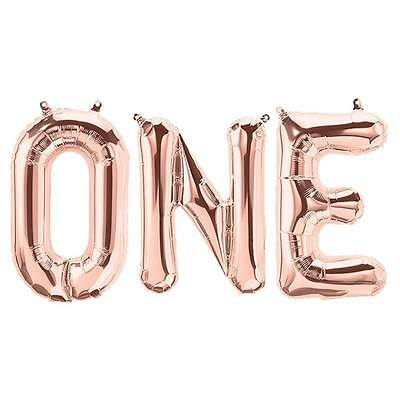 1St First Birthday Boy Girl Party Supplies Banner One Foil Balloon Kit Rose Gold