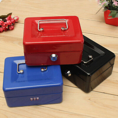 Metal Cash Box Lockable Safe Deposit Petty Coin Money Box Keys or Password Lock