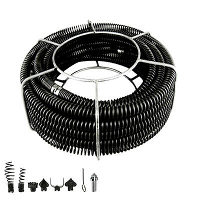 Plumber Drain Snake Pipe Pipeline Sewer Cleaner 12M w 6 Drill Bit for Drill
