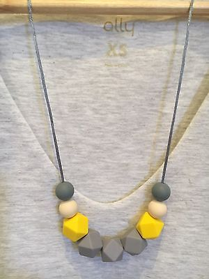 Silicone Sensory (was teething) Necklace Beads Jewellery Aus Gift Mum Yellow