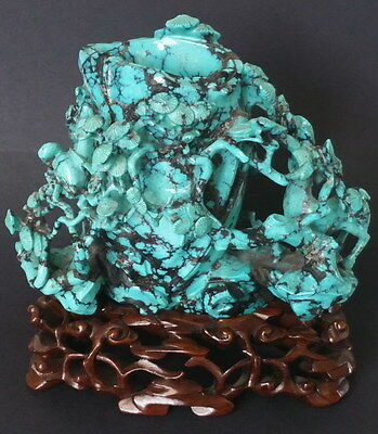 Antique Chinese Turquoise Carved Vase And Wood Stand