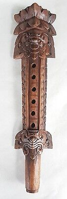 Vintage Old Javanese Hand Carved Wooden Flute Musical Instrument Red Wood Asian