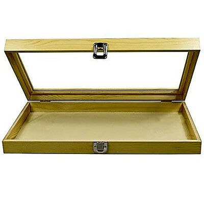 Mooca Large Natural Wood TEMPERED Glass Top Lid Metal Clip Jewelry Display Case