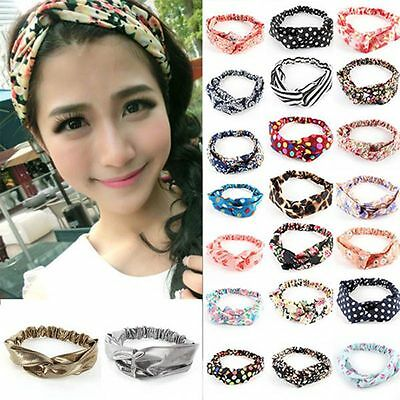 Fashion Women Yoga Elastic Turban Floral Twisted Knotted Hair Band Wrap Headband