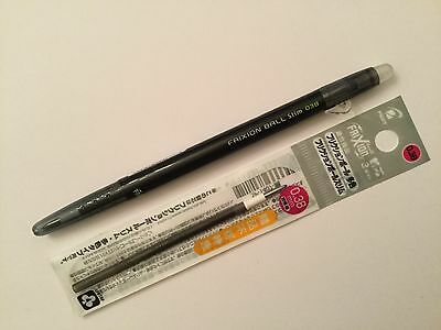 Pilot FriXion Ball Slim 0.38mm Erasable Rollerball Gel Pen(1+1 free refill)black