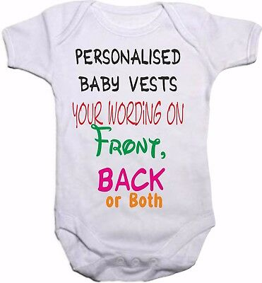 Personalised Baby Vest Any Message Various Print Colours & Fonts