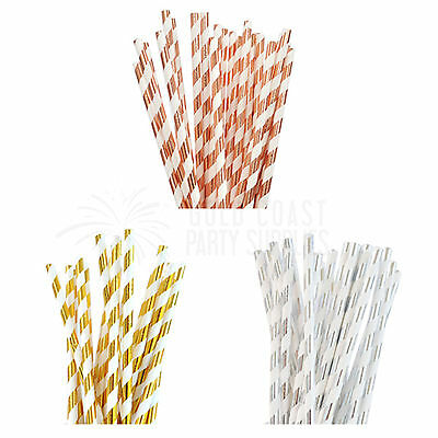 Party Decorations Straws Metallic Gold Silver Rose Birthday Baby Shower