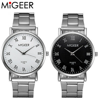 MIGEER Fashion Men Womens Luxury Stainless Steel Analog Quartz Silver Wrist Watc
