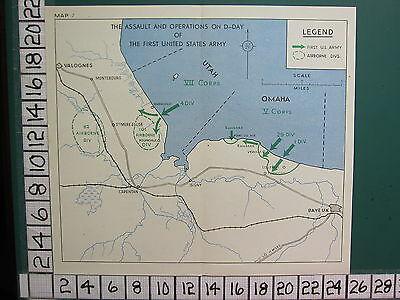 WW2 MAP ~ ASSAULT & OPERATIONS D-DAY 1st U.S ARMY VII CORPS 4 DIV VIERVILLE