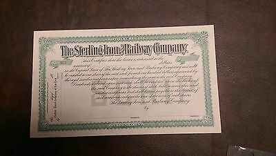 Sterling Iron and Railway Company Stock Certificate Vintage Antique Rare
