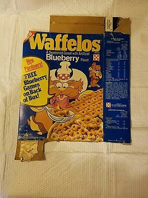 Vintage Purina  Waffelos  blueberry  cereal box.
