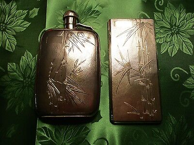 Chinese NANKING Sterling Silver Bamboo Design Matching Flask & Cigarette Case