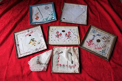 New Vintage LOT Ladies Cotton Handkerchiefs MI Switzerland China US Embroidered