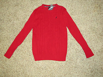 Nautica Boys Red Pullover Cotton Sweater - Size XL (18-20) - NWT