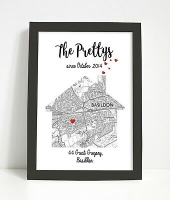 Personalised map print/ valentines gift/ new home gift/house warming present