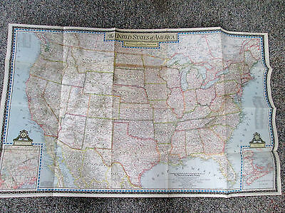 Vtg 1946 National Geographic Large Color Map United States of America 560