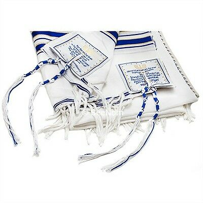 "Messianic Tallit Prayer Shawl Talit Blue & Gold Stripes with Talis Bag 72"" x 22"""