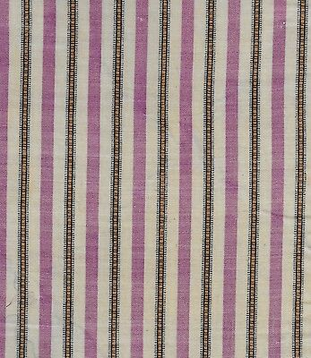 Antique 1860 Purple & Cheddar Stripe Wool Challis Fabric