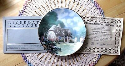 Thomas Kinkade STONEGATE COTTAGE 8th Issue In Garden Cottages Plate COA Mint