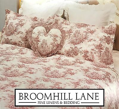 New! Luxury 100% Cotton Toile Pink White French Vintage Duvet Cover Set Country