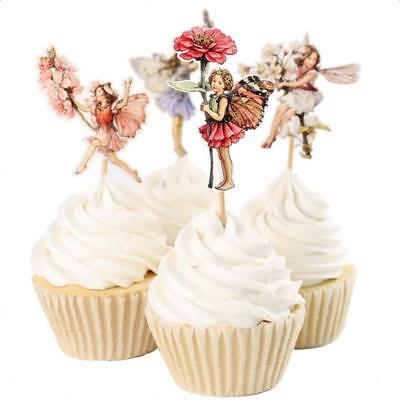24pcs Flower Fairy Pixie Cupcake Cake Topper Pick Wedding Party Cake Decor