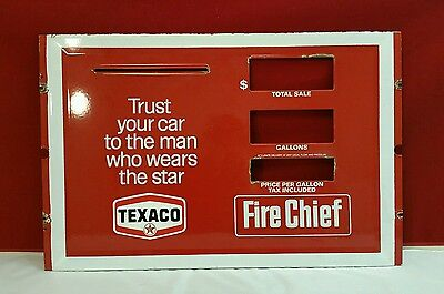 Vintage Texaco Porcelain Gas Pump Face Plate Sign Fire Chief Gas Station