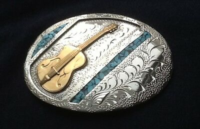 VTG Silver, Turquoise & Brass HAND MADE SIX STRING GUITAR BELT BUCKLE-Music, USA
