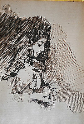 Jules Jacquemart, French 19th century antique ink drawing