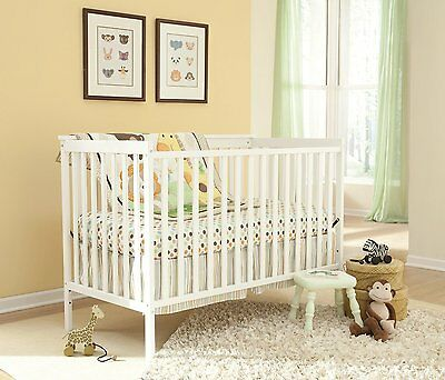 Convertible Baby Crib White Nursery Furniture Wooden Toddler Bed Infant Wood New