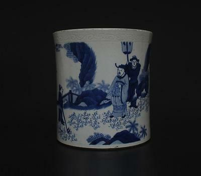 Superb Antique Chinese Porcelain Blue And White Brush Pot s88