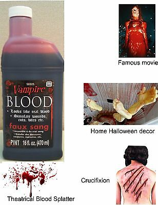 Pint of Fake Blood Halloween Vampire Blood 16 Oz Makeup Videos Cosplay