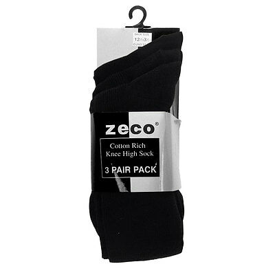 Zeco School Uniform Girls Knee High Socks Cotton Rich 3 per pack (GS3210)Colours