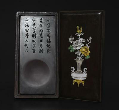 Antique Chinese Old Carved Inkstone Marked With Rosewood Box o39
