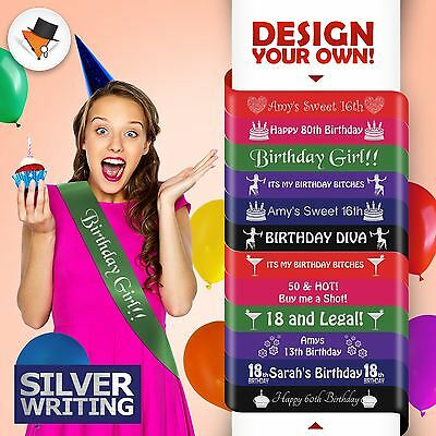 High Quality Personalised Birthday Party Sash Accessory 16Th 18Th 20Th 21St!