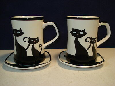 Huesnbrew Siamese Cat Coffee Tea Cup And Saucer Sets - Set Of 2