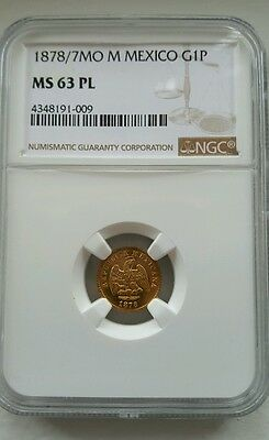 Mexico Second Republic 1878/7 MoM Gold 1 Peso NGC MS63 PL Only One Graded In PL