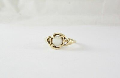 14K Yellow Gold Gray Agate Bead Ring (Sz 8.25) 3.5G