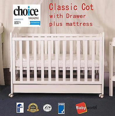 Babyworth BW02 CLASSIC COT with drawer crib baby bed Au Made Organic Mattress