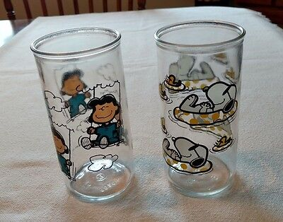 Peanuts Drinking Glasses, Snoopy Floating & Lucy on Swing, Welch's Grape Jelly
