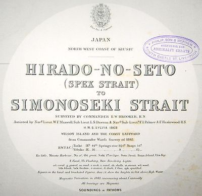 1870 Antique Nautical Sea Sailing Chart Hirado-no-Seto Simonoseki Japan Ika