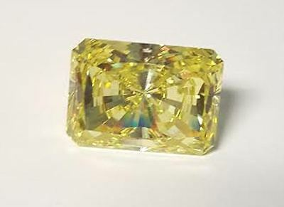 3 ct Radiant Cut Canary Vintage Stone Top CZ Moissanite Simulant 9.5 x 7.5 mm