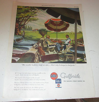 1946 original ad Gulf Oil Men Having a Drink at the Golf Course