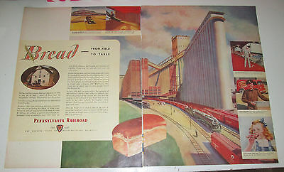"""1946 original ad Pennsylvania Railroad """"Bread from Field to Table"""" 2 pages"""