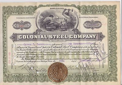 Monaca Pa 1926 Colonial Steel Co. Stock Certificate