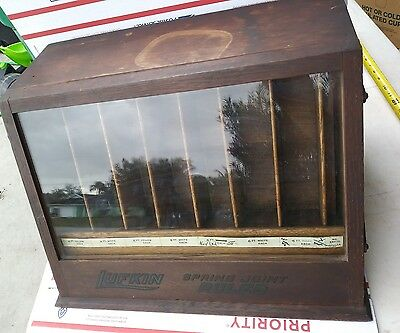 RARE Antique Country Store Lufkin Rule Co. Machinist Tool Display Case Cabinet